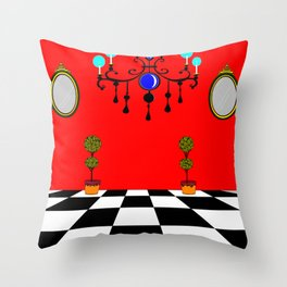 An Elegant Hall of Mirrors with Chandler and Topiary Throw Pillow