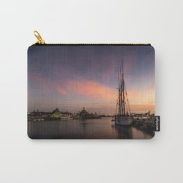 Sailboat moored in Long Beach at sunset Carry-All Pouch