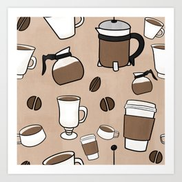 Coffee cups, beans, and carafes pattern Art Print