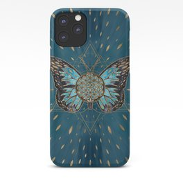 Flower of Life Butterfly - Blue Gemstone and gold iPhone Case