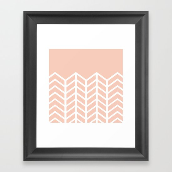 LACE CHEVRON (PEACH) Framed Art Print