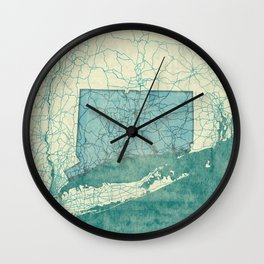 Connecticut State Map Blue Vintage Wall Clock
