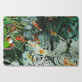 Carp and lilies Cutting Board