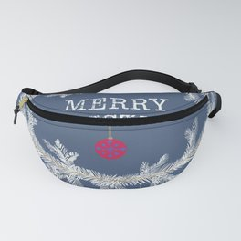 Merry christmas and happy new year greeting card wreath background Fanny Pack