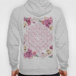 Mandala Rose Garden Pink on White Hoody