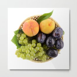 A bowl of tasty, ripe summer fruits with white background. Metal Print
