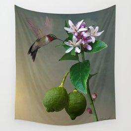 Lemon Tree and Hummingbird Wall Tapestry