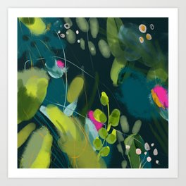 abstract jungle fever leaves in floral green Art Print