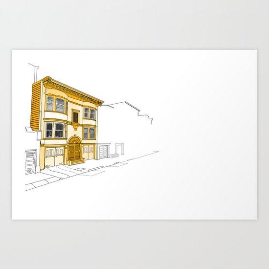 Yellow San Francisco Haus Art Print