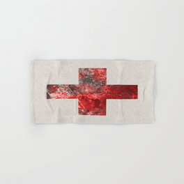 Medic - Abstract Medical Cross In Red And Black Hand & Bath Towel