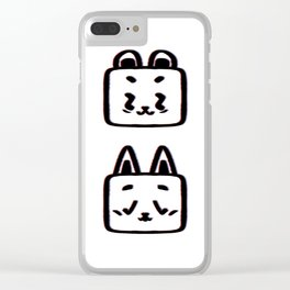 Animals pattern graphic bear and cat illustration white background Clear iPhone Case