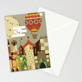 Hot air balloon ride trough the city Stationery Cards