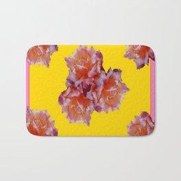 Pink & Yellow Antique Rose flowers Pattern Floral Art Bath Mat