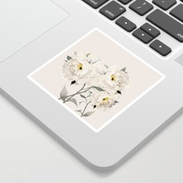 White Peonies Sticker