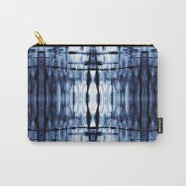 Blue Shibori Plaid Carry-All Pouch