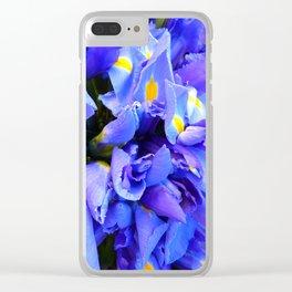 Blue Iris flowers Clear iPhone Case