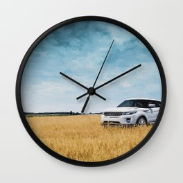 Abandoned Car Art Evoque in field Wall Clock