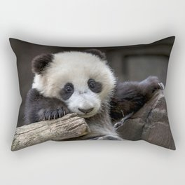 Baby panda climb a tree Rectangular Pillow
