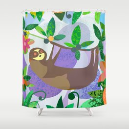 Sloth World Shower Curtain