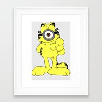 garfield Framed Art Prints featuring Garfield Minion by firstevie