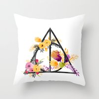 deathly hallows Throw Pillows featuring Life and Deathly Hallows by Snazzy Sisters