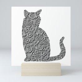 Elegant Gray Monochrome Scroll Swirls Background Mini Art Print