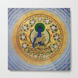 Blue Meditation Tibetan Buddhist Thangka Metal Print
