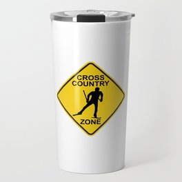 Cross Country Skiing Zone Road Sign Travel Mug