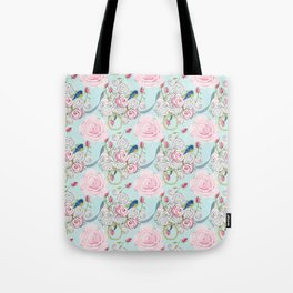Bluebirds and Shabby Chic Roses on Paris Blue Tote Bag