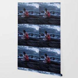 Woman Bathing in the Sea Beneath a Full Moon Wallpaper