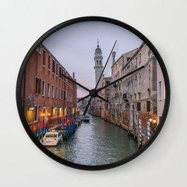 Venice Italy Canal Photography, Travel Italy Wall Art, Venetian Canals at Dusk Home Decor Wall Clock