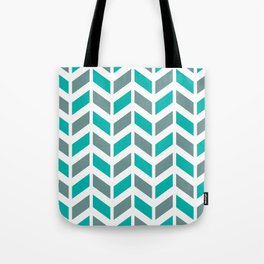 Turquoise, gray and white chevron pattern Tote Bag