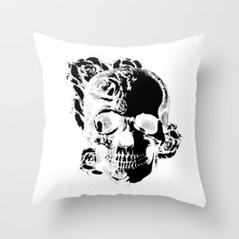 To the core, graphic rose skull Throw Pillow