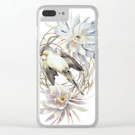 Fallen Bird, Little Swift bird, Queen of The Night Blossom Clear iPhone Case