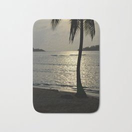 the sunset by the palm tree Bath Mat