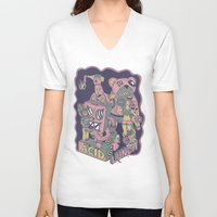 acid V-neck T-shirts featuring acid lunch by Andrea Moresco