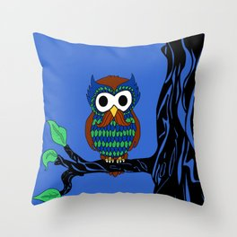Mustachioed Owl Throw Pillow