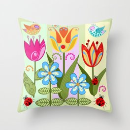Decorative flowers, ladybugs and a bird Throw Pillow