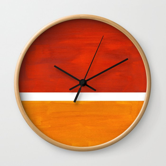 Burnt Orange Yellow Ochre Mid Century Modern Abstract Minimalist Rothko Color Field Squares Wall Clock