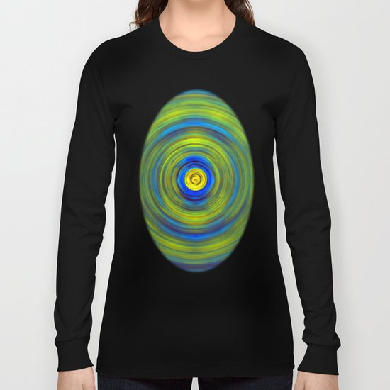 Vivid Green and Blue Swirl Long Sleeve T-shirt