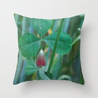 clover Throw Pillows featuring Clover by Christine baessler