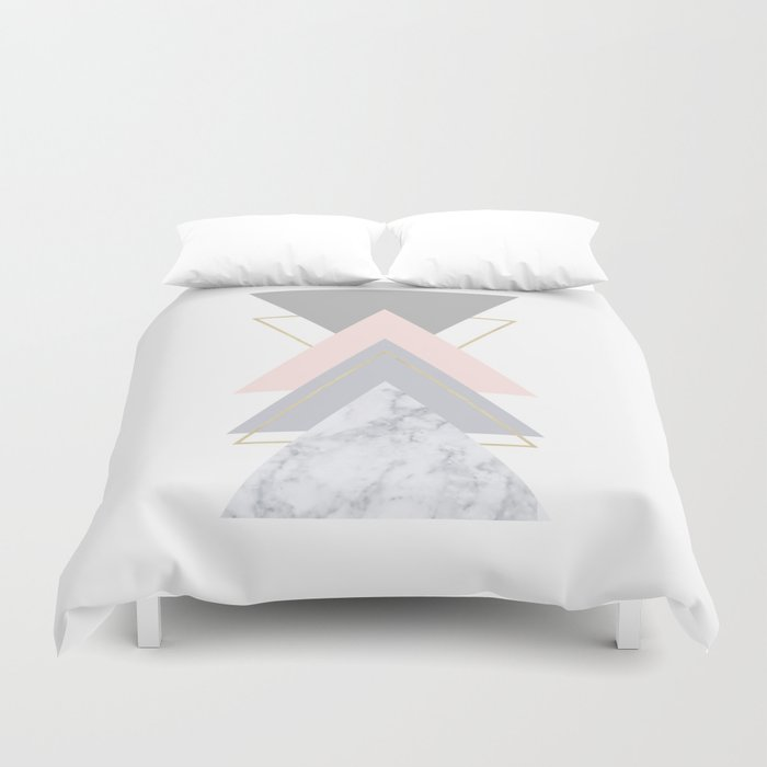 Blush Marble Gray Gold Geometric Pattern Duvet Cover By