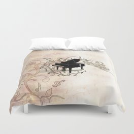 Music, piano with key notes and clef Duvet Cover