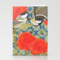 tits Stationery Cards featuring Coal Tits and Chrysanthemums by Divya Venkatesh