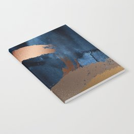 Navy Blue, Gold And Copper Abstract Art Notebook