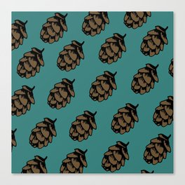 Turquoise Pinecone Pattern Canvas Print