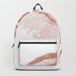 I see you. Rose Gold Pink Quartz on White Backpack