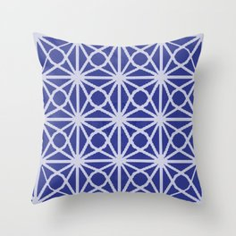 Deep Blue and White Moroccan Sacred GEometry TIle Print Throw Pillow