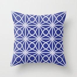 Deep Blue and White Moroccan Sacred GEometry TIle Print Throw Pillow