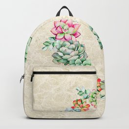 Colorful Desert Succulents Wreath on textured tan background Backpack